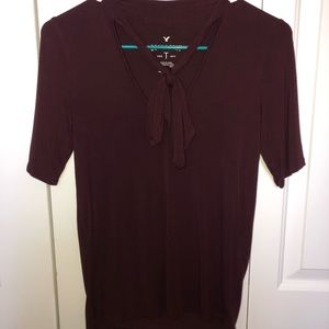 American Eagle Maroon Tie Blouse